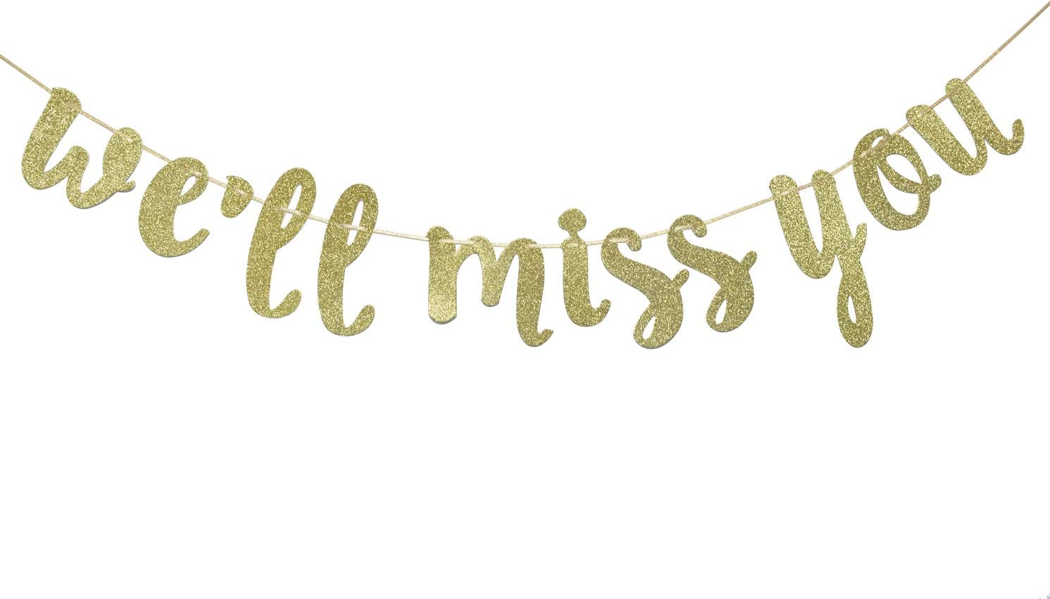 We Will Miss You Glitter Banner, Retirement Party Decor, Retirement Banner, Going Away Party Decor, Office Work Party, Farewell Party Decor(Gold)