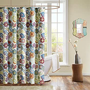 Mi Zone Tamil Print Fabric Shower Curtain Global Inspired Curtains For Bathroom