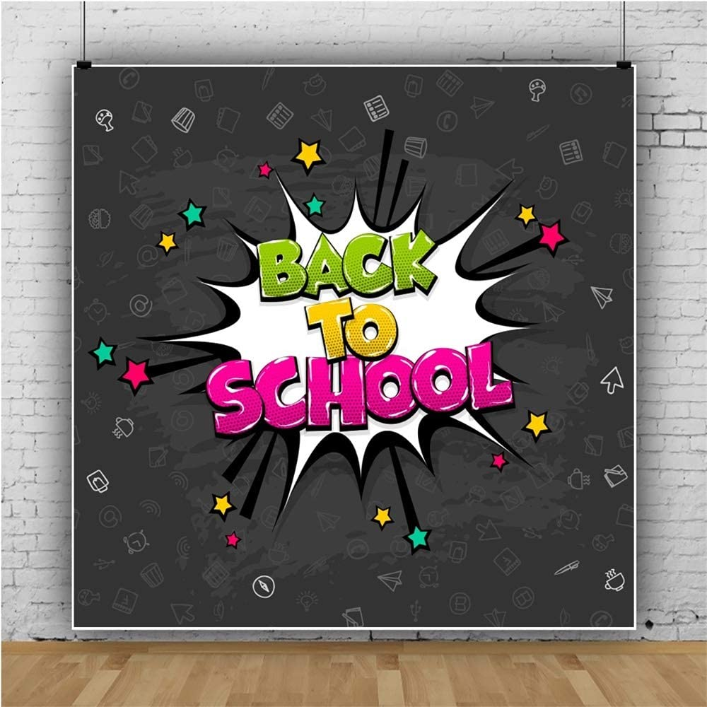 YEELE Back to School Backdrop 10x10ft First Day in School Photography Background Comic Text Pictures School Event Party Kids Boys Students Portrait Photoshoot Studio Props Digital Wallpaper