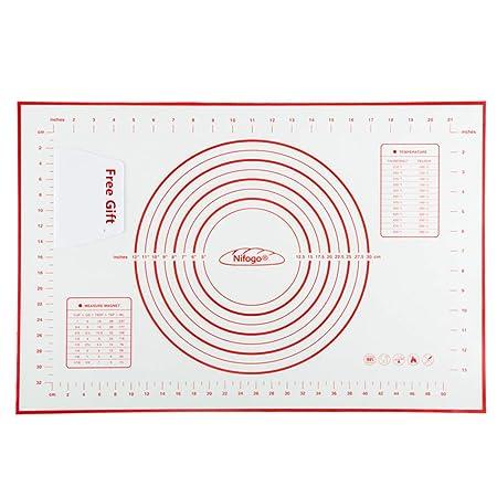 Nifogo Silikonmatte Silikon Backmatte Baking Mat BPA frei Nonstick mit Messungen Fondant Teig Gebäck Backmatte, 60 * 40cm (Ro
