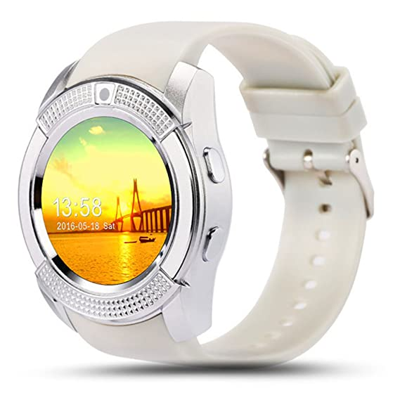 ZOMTOP V8 Sport Bluetooth Round Dial Wrist Smart Watch Camera SIM TF Slot for IOS Android Fashion(White)