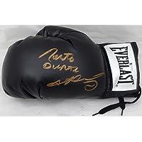 $129 » Sugar Ray Leonard & Roberto Duran Autographed Black Everlast Boxing Glove LH Signed In Gold Beckett BAS Stock #177670