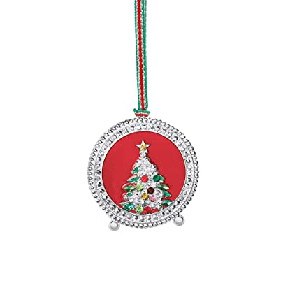 newbridge silverware decorated christmas tree in round red frame design hanging decoration