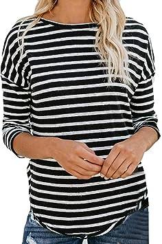 Camisetas De Rayas Negras Y Blancas Mujer Ronamick Casual Blusa De Fiesta Mujer Elegante Tops Cortos Mujer Casual Camisa Para Mujer (Negro,L): Amazon.es: Iluminación