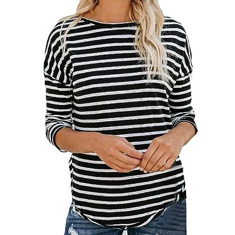Amazon.com: Women Sexy Stripe Print O-Neck Tops T Shirt ...