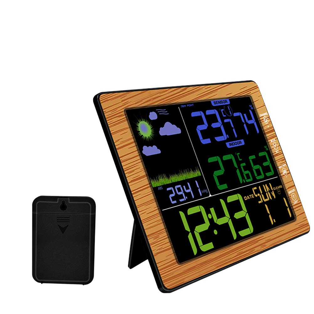Vosarea Wireless Weather Station Clock Digital Thermometer Remote Sensor Color Display No Battery