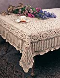 Handmade Crochet Lace Tablecloth, 100% Cotton, 72''X90'' Rectangular