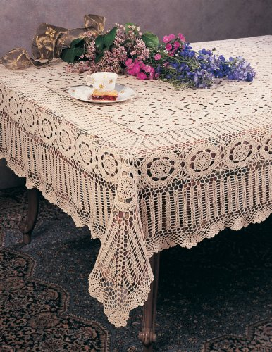 Handmade Crochet Lace Tablecloth, 100% Cotton, 72''X90'' Rectangular by fenncostyles.com