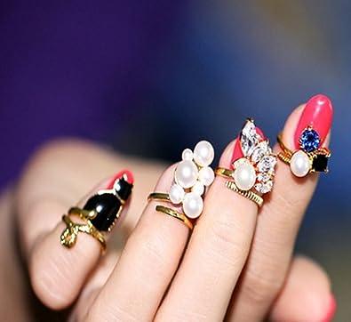 おしゃれ! ネイルリング ジュエリー レディース ネイルアート 爪の指輪 チップリング アクセサリー 4本セット katsuma5614