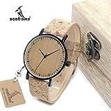 HWCOO Hermosos Relojes De Madera Bobo Bird Tabla de Madera cinturón de Corcho de bambú Movimiento…