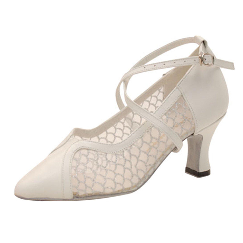 YFF Geschenke Frauen Dance schuhe Ballroom Latin Dance Tango Tanz schuhe 7CM Weiß 40