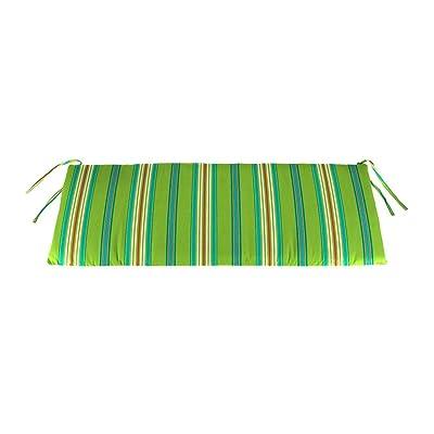 Plow & Hearth Polyester Classic Swing/Bench Cushion, 47 x 16 x 3 - Tangier Stripe : Garden & Outdoor