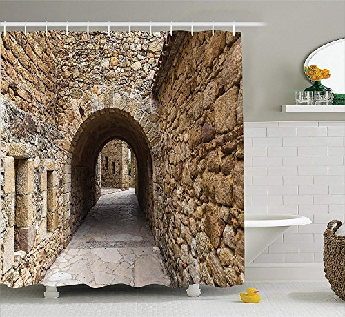 Ranche Apartment Decor Collection, Medieval Ancient Historic Street With Stone Walls in Pals Girona Catalonia Spain Picture, Polyester Fabric Bathroom Shower Curtain Set with Hooks by Ranche