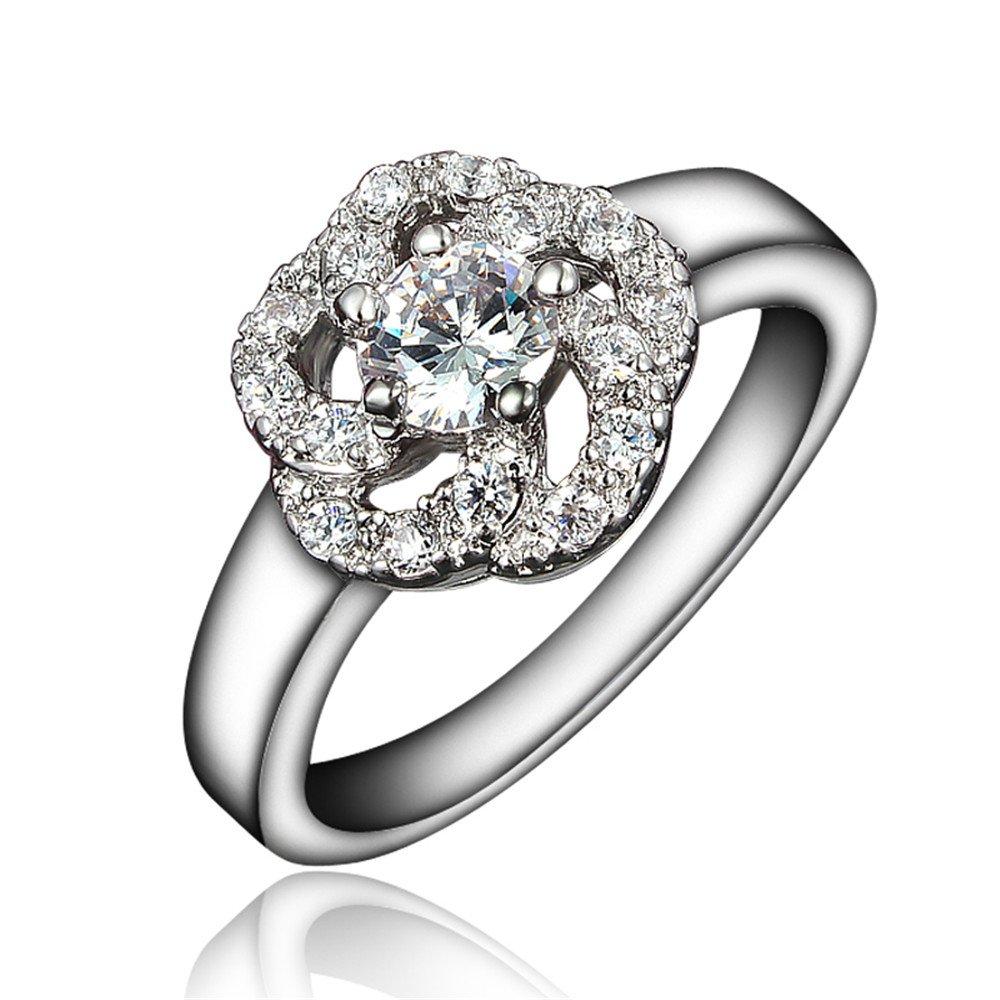 Genuine Brand Jewelry Huge Zircon Gold Plated Bride Wedding Engagement Ring