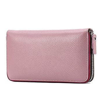b73252ee4abe7 DcSpring Damen Lange Geldbörse Echt Leder Clutch Elegante Geldbeutel Große  Kapazität Portemonnaie mit Reißverschluss (Pink
