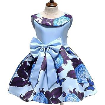2e9556d132cf soAR9opeoF Large Bowknot Sleeveless Round Neck Rose Print Kid Girls Princess  Dress Gift Light Blue 110cm