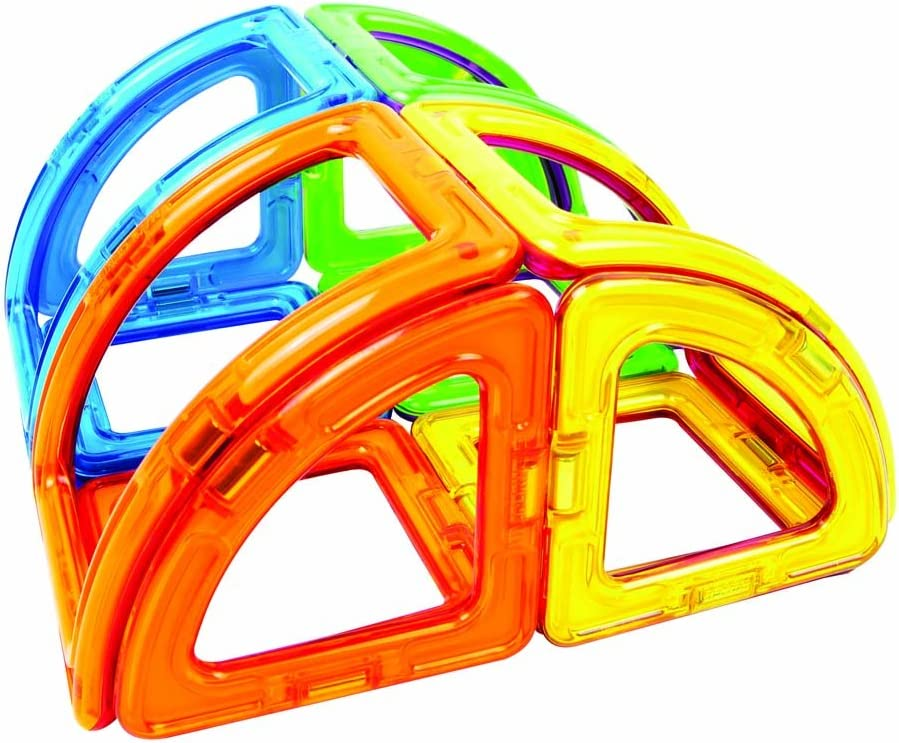Educational Magnetic Geometric Shapes Tiles Building STEM Toy Set Ages 3+ Magformers Curve 20 Pieces Rainbow Colors