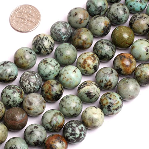 Joe Foreman Africa Turquoise Beads for Jewelry Making Natural Gemstone Semi Precious 12mm Round Blue 15