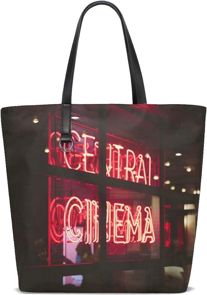 Inscription Neon Window Light Glass Tote Bag Purse Handbag For Women Girls