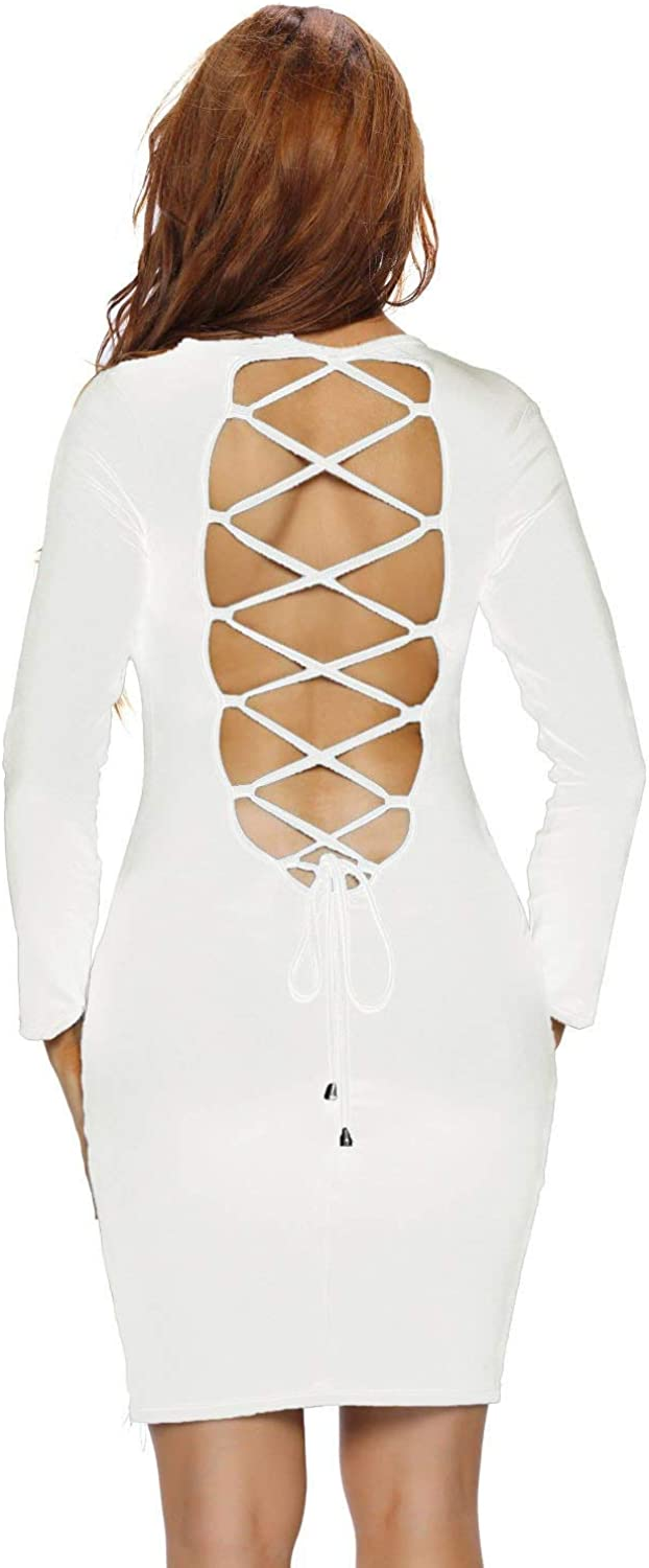 New White Lace Up Back Body Con Mini Dress Party Wear Club Wear Evening Formal Dress Size UK 10-12