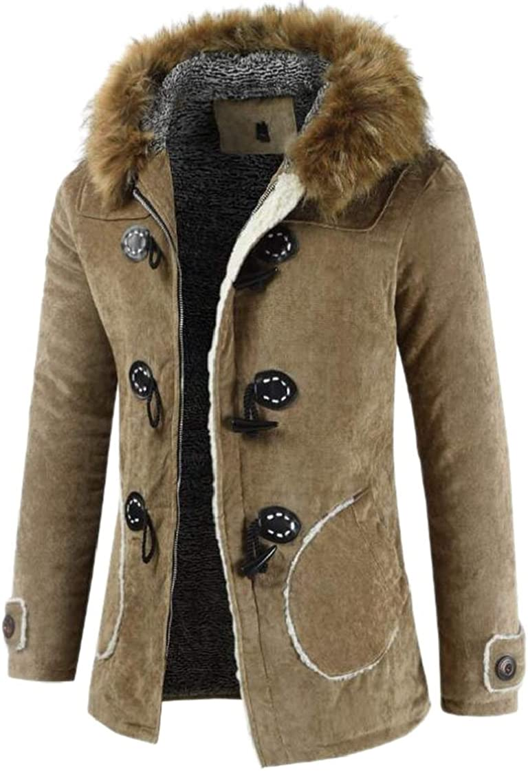 M/&S/&W Mens Thicken Toggle Fleece Lined Faux Fur Hooded Parkas Coats Mid Long Jackets