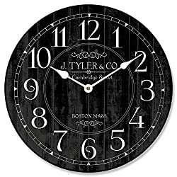 Harbor Black Wall Clock, Available in 8 Sizes, Most Sizes Ship The Next Business Day, Whisper Quiet.