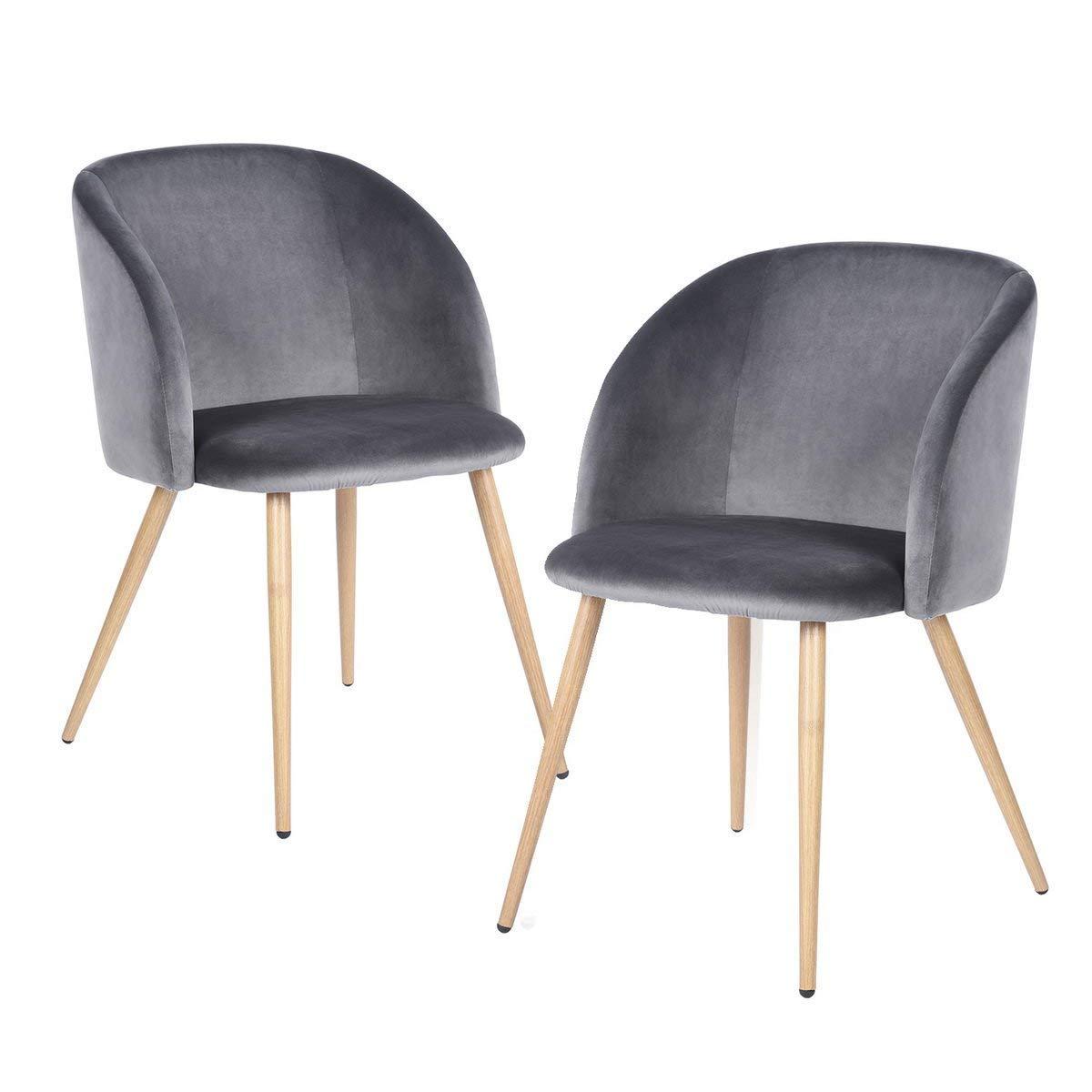 H.J WeDoo 2er Set Vintager Retro Stuhl Polstersessel Sessel Polstersessel Stuhl Samt Lounge Sessel Clubsessel Fernsehsessel mit hölzernen Metallbeine (Grün) 93f5d9