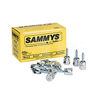 Sammys 8020957-25 1/4 x 1'' Horizontal Rod Anchor Super Screw with 3/8 in. Threaded Rod Fitting, for Wood (Pkg.=25)