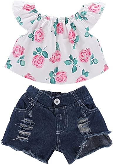 Girls Floral Off Shoulder Shirt Tops Denim Shorts Fashion Summer Clothes Set
