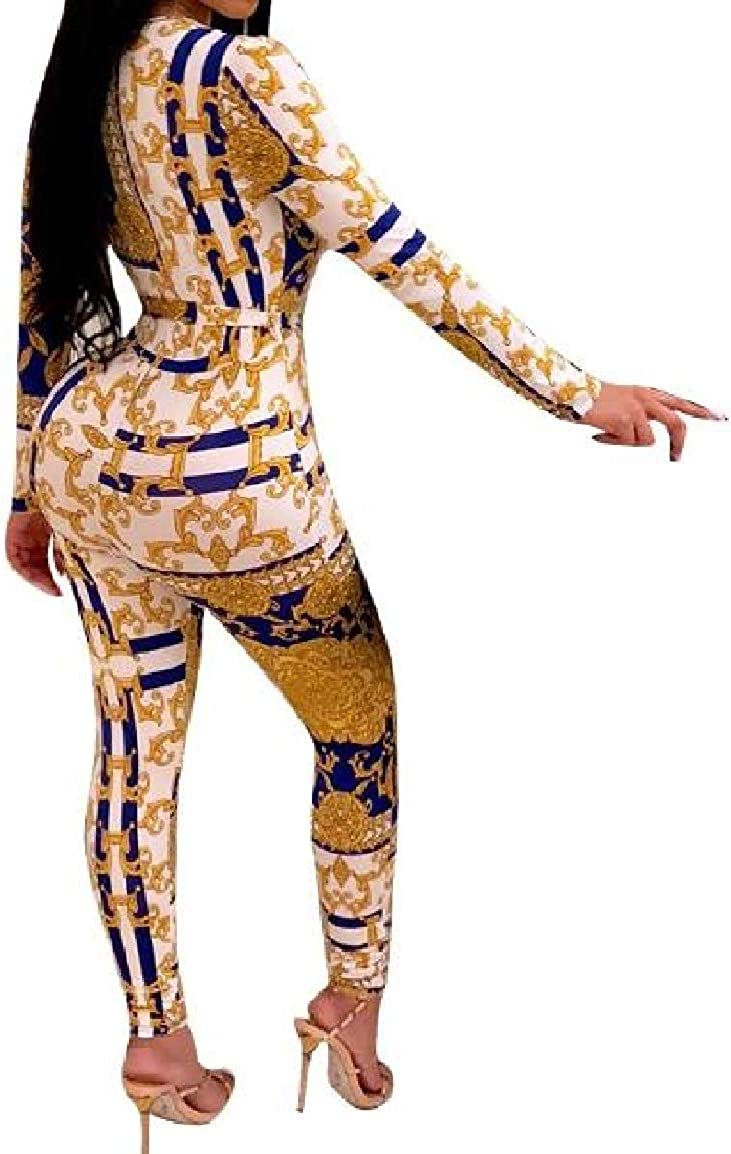 Nicelly Womens Nightclub Chain Printed Empire Waist Long Sleeve Belted Playsuit
