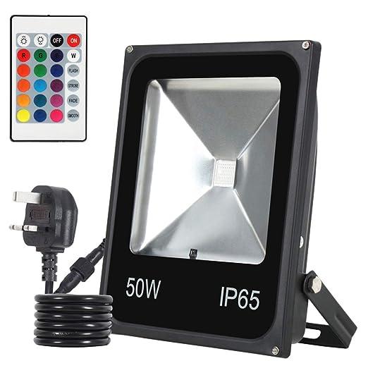 Proyector LED con Control Remoto, 7 Colores de la luz, IP66 ...