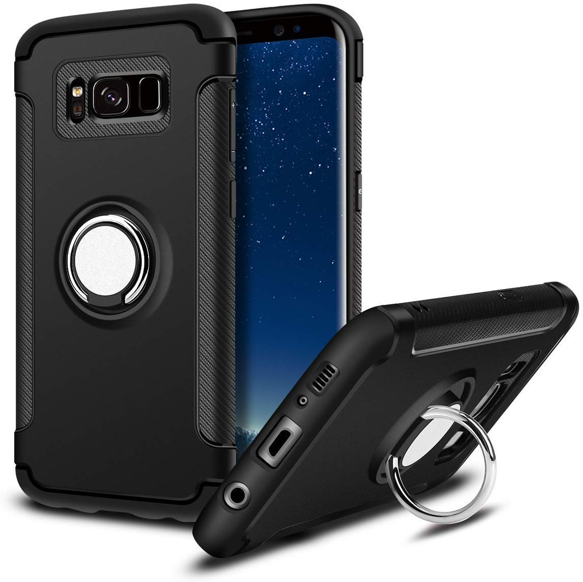 Samsung Galaxy S8 Plus (6.2 inch) Multifunction Hybrid Shockproof with Kickstand Protective Bumper Cover (Black) by Niuta..