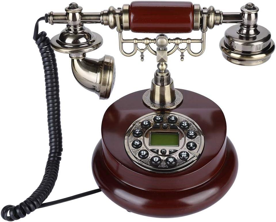 ASHATA Teléfono Retro Vintage con Sistema Dual FSK/DTMF,Teléfono Antiguo de Sobremesa con Base Esterilla Antideslizante,Función de Pausa y Rellamada