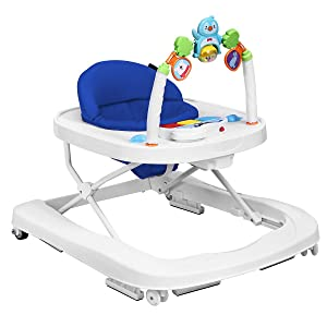 HONEY JOY Baby Walker, Push Learning Walker-Seated & Walk-Behind W/Wheels, Adjustable Height, Soft High Back Padded Seat, Toddler Activity Center with Animals Pedants and Music (Blue)