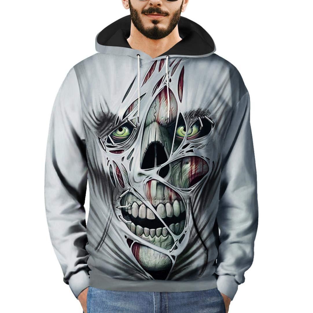 Fast Fashion Casual Slim Fit Men Hoodie-3D Printed Wolf Striped Skull Cat Sweatshirts Hooded