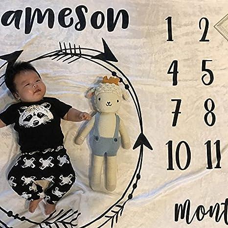 Amazon.com: Personalizado Mes Milestone – Mantita para bebé ...