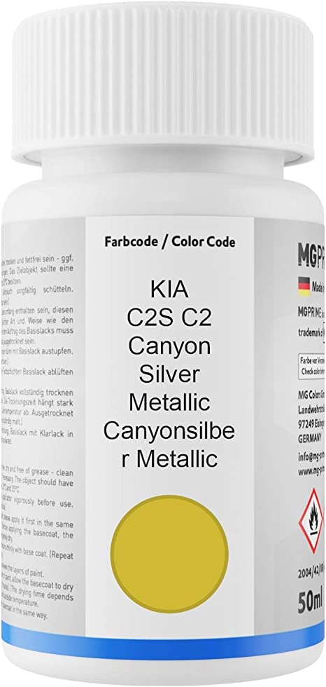 Mg Prime Autolack Lackstift Set Für Kia C2s C2 Canyon Silver Metallic Canyonsilber Metallic Basislack Klarlack Je 50ml Auto