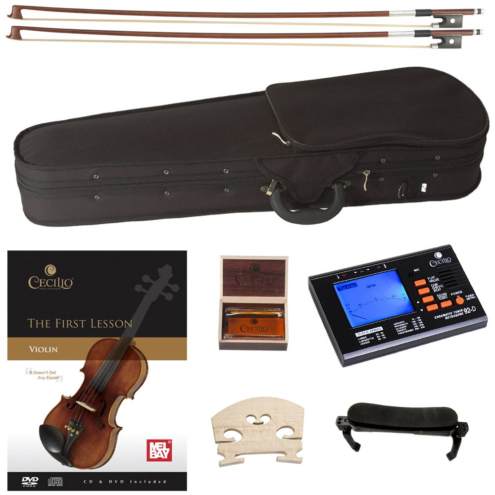 Cecilio CVN-320L Solidwood Ebony Fitted Left-Handed Violin with D'Addario Prelude Strings, Size 4/4 (Full Size) by Cecilio (Image #7)