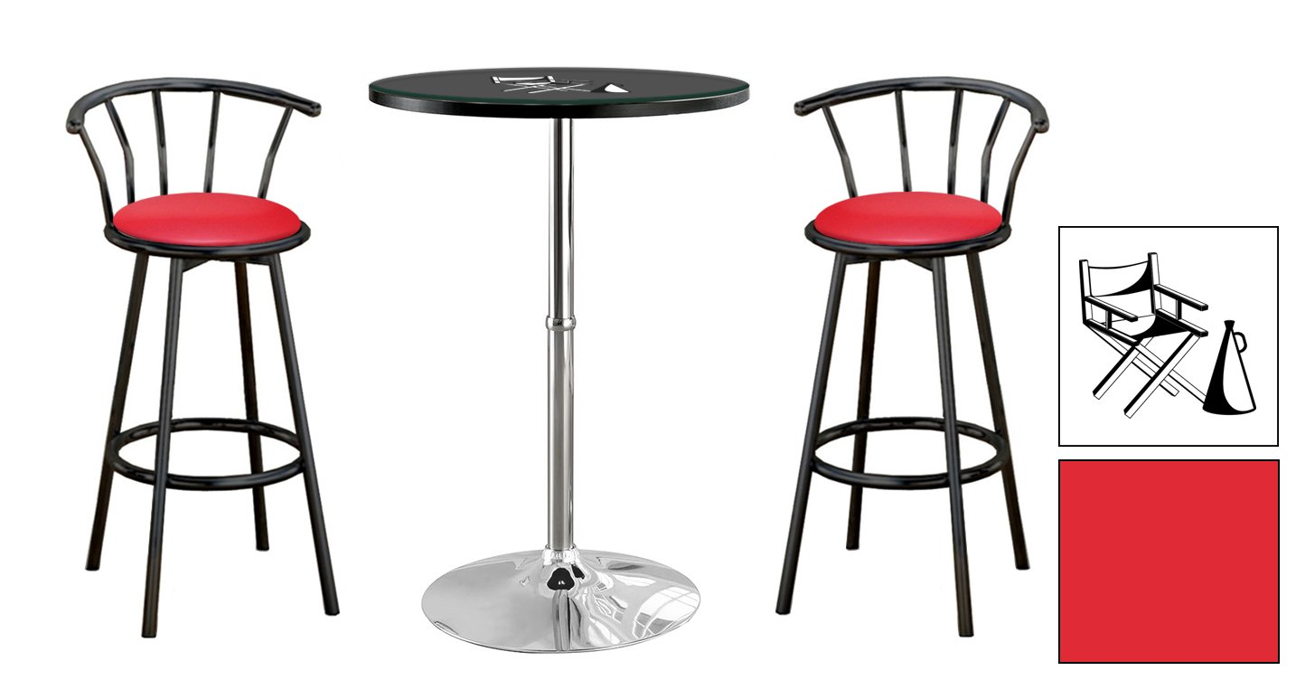 4-pc Bar Table Set with Chrome Pedestal Table-Choice of Your Favorite Novelty Themed Logo-Glass Top and Black Swivel Seat Stools - FREE Coasters Included (Director