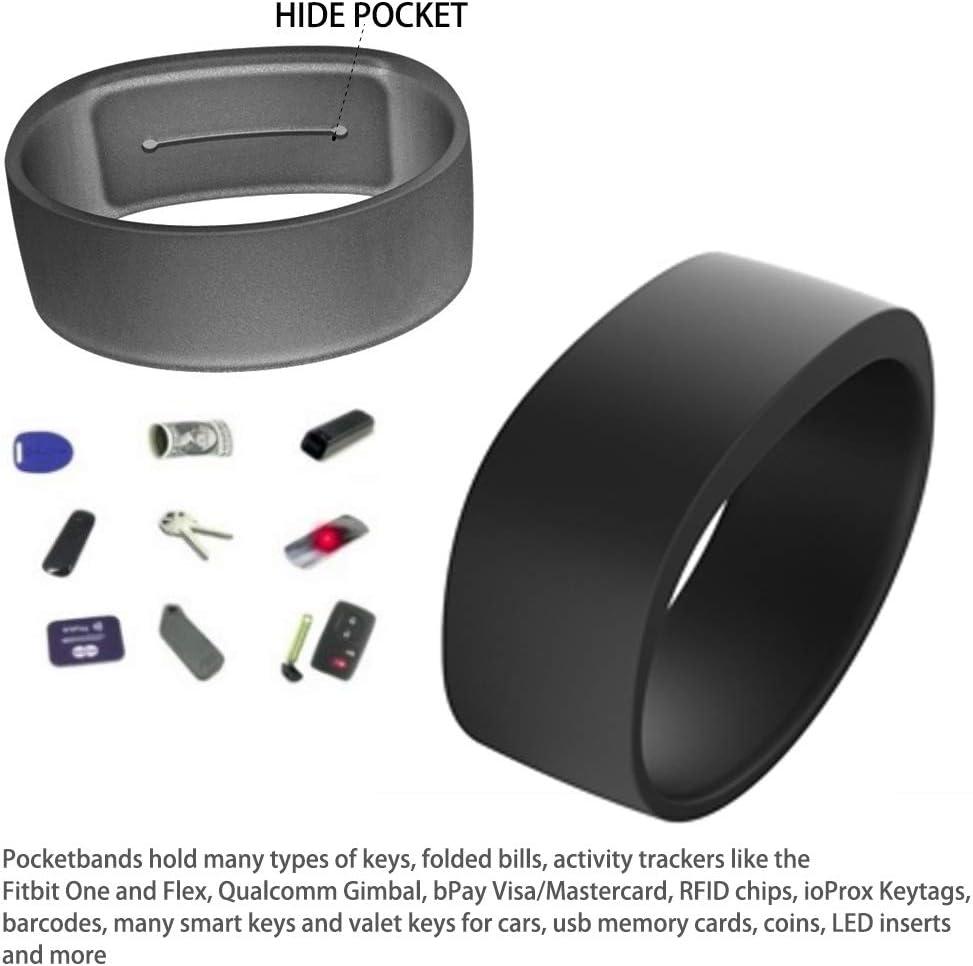 "PINK Pocketband Silicone Wristband Bracelet With Key Pocket 3.0 Wrist Wallet 1/"""