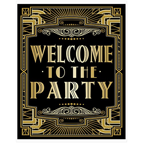 Musykrafties Roaring 20s Gatsby Welcome to Party Poster Photo Booth Props Sign 16x12