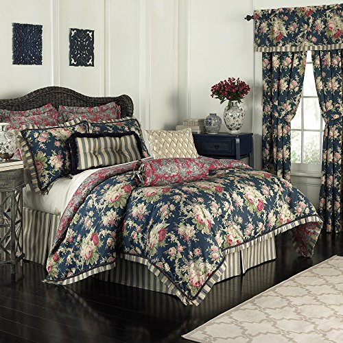 Waverly 14922BEDDQUEHTB Sanctuary Rose 96-Inch by 92-Inch 4 Piece Queen Comforter Set, Heritage Blue ()