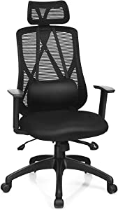 Giantex Mesh Office Chair, Ergonomic Computer Chair with Removable Lumbar Support, Adjustable Height Armrest Headrest Swivel Reclining Mesh High Back Office Chair(Black)