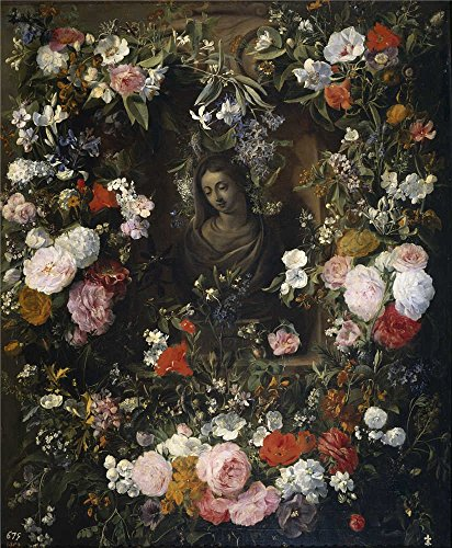 Perfect Effect Canvas ,the Imitations Art DecorativePrints On Canvas Of Oil Painting 'Verendael Nicolaes Van Guirnalda Rodeando A La Virgen Maria 1640 60 ', 16 X 19 Inch / 41 X 49 Cm Is Best For Powder Room Decoration And Home Artwork And (Cheetah Print Lip Tattoos)