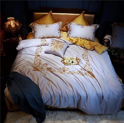 yyygg Juego de sábanas Corona de Oro Negro de algodón de Egipto ...