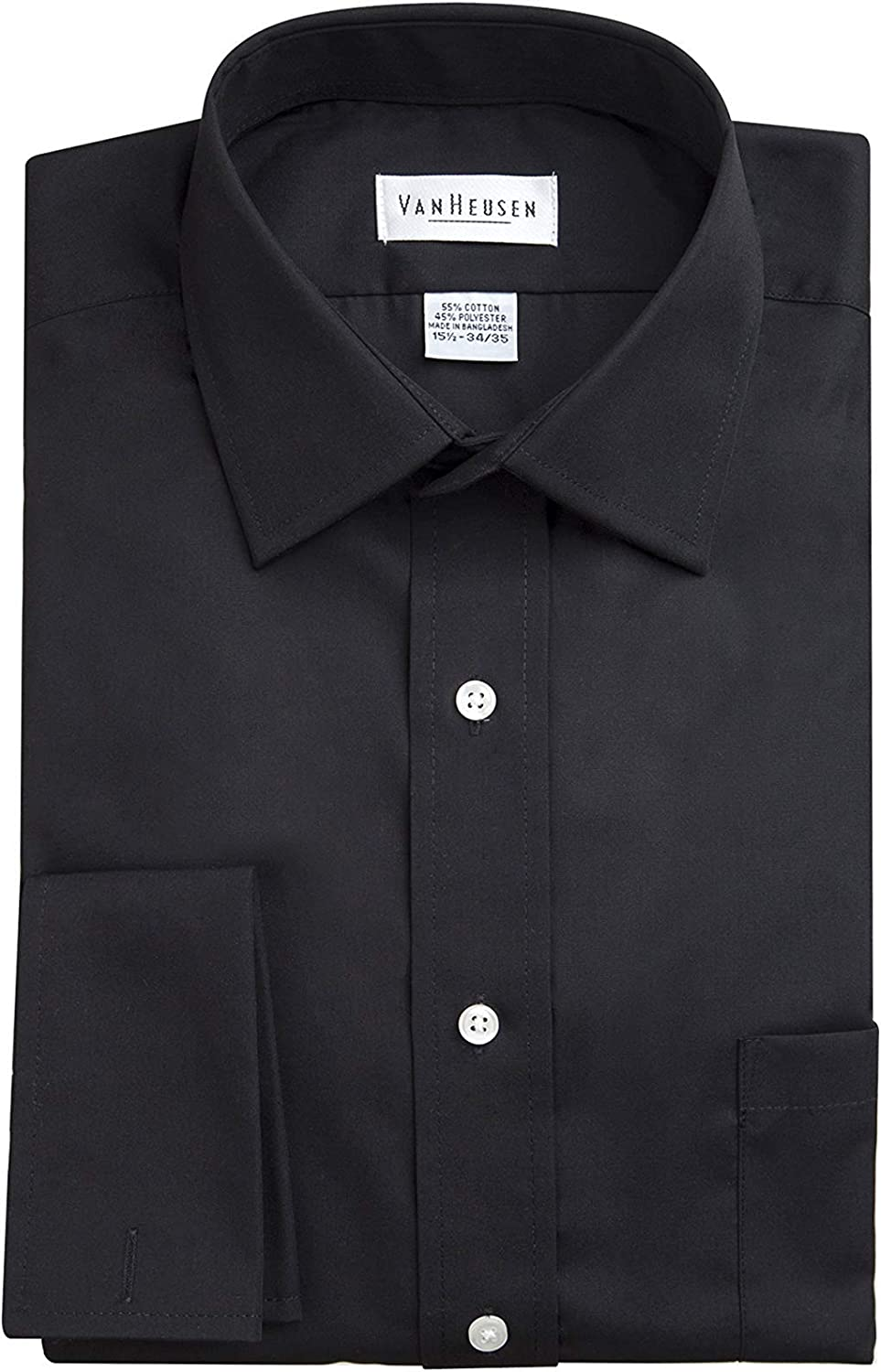 Van Heusen Mens Wrinkle Free Broadcloth French Cuff Solid Dress ...