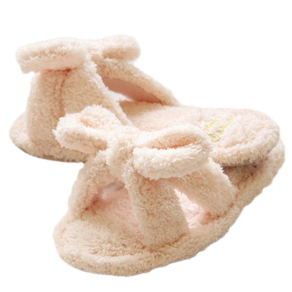 Fortuning's JDS Signore delle donne arco vello Casa Pantofole beige Cadute di vibrazione imbottito flatform aperto Sandali dita dei M4X35G