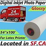 54'' x 100 ft,Professional Premium Digital Inkjet Golssy Photo Poster Paper for Eco Solvent,Latex,UV Printer