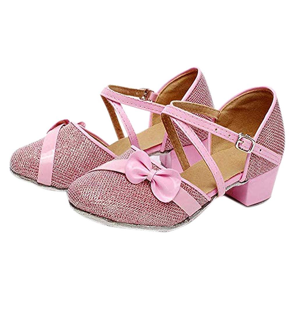 44d902d687cbd Glitter Buckle Latin Dance Shoes - Bow-Knot Jazz Line Dancing Heel ...