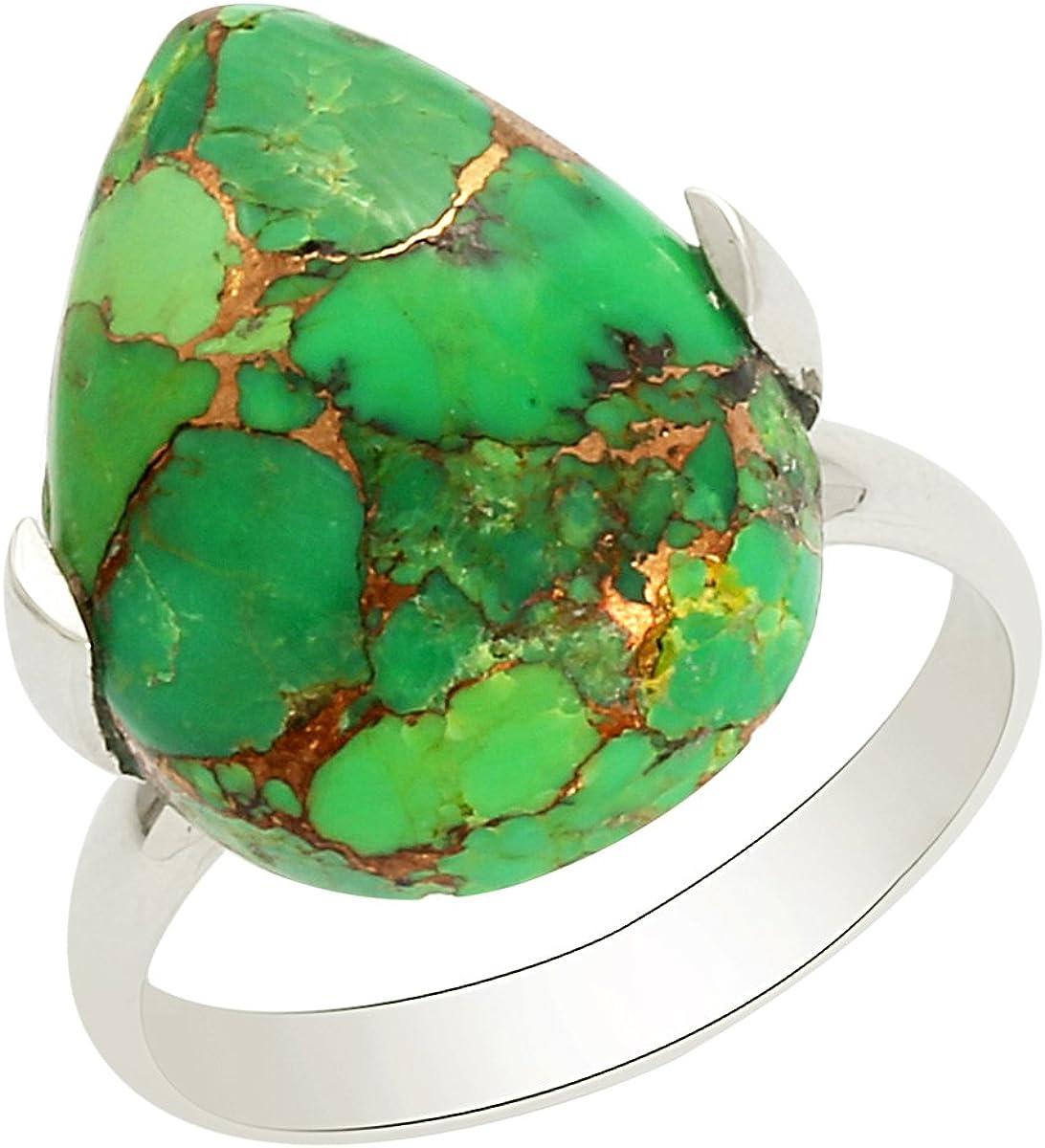 Shine Jewel Anillo de piedras preciosas de color turquesa verde hecho a mano con anillo de plata de ley 925 en forma de pera para mujer